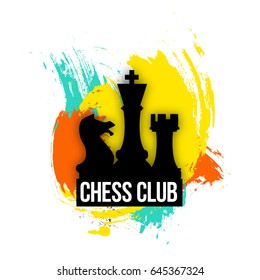 bright logo for a chess companies, club or a chess player. Emblem illustration on the colorful background