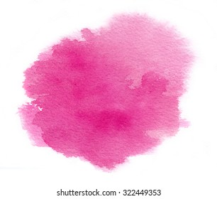 Bright magenta watercolor stain with watercolour paint stroke