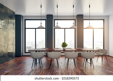 Bright meeting room interior with city view. Corporate presentation concept. 3D Rendering