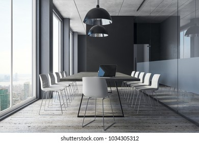 Bright meeting room interior with New York city view, equipment and daylight. 3D Rendering