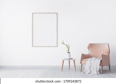 Bright minimal interior of living room, peach color furniture on white flooring and wall ,3D rendering, 3D illustration