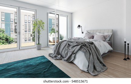 Bright modern bedroom in a high-rise apartment with a mussed unmade bed and large glass doors leading to an outdoor patio letting in lots of daylight, 3d rendering