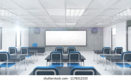 bright modern classroom interior front view, education 3D render illustration template