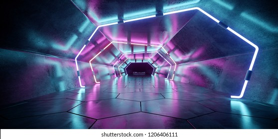 Bright Modern Futuristic Alien Reflective Concrete Corridor Tunnel Empty Room With Purple And Blue Neon Glowing Lights Hexagon Floor Background 3D Rendering Illustration