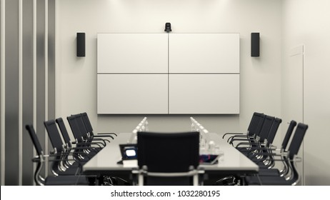 Bright modern meeting room with 2x2 LCD video wall. 3D illustration.
