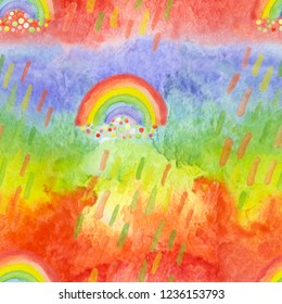 Bright modern seamless pattern with hand drawn rainbows and rainy drops. Watercolor rainbows for kids textile, fabric prints, phone cover. Vibrant background for bed cloth, paper napkin, party design