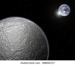 bright moon image and planet in the distance with a sun-flare in space