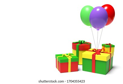 Bright multi colored gift boxes and festive balloons in the corner on white background. 3D illustration