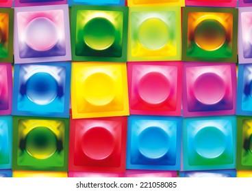 Bright Multicoloured 3D Condom Wrapper Background