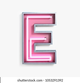 Bright Neon Font with fluorescent pink tubes. Letter E. Night Show Alphabet. 3d Rendering Isolated on White Background.