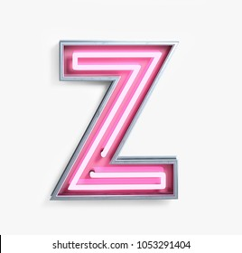 Bright Neon Font with fluorescent pink tubes. Letter Z. Night Show Alphabet. 3d Rendering Isolated on White Background.