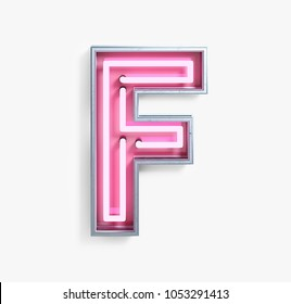 Bright Neon Font with fluorescent pink tubes. Letter F. Night Show Alphabet. 3d Rendering Isolated on White Background.