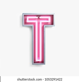 Bright Neon Font with fluorescent pink tubes. Letter T. Night Show Alphabet. 3d Rendering Isolated on White Background.