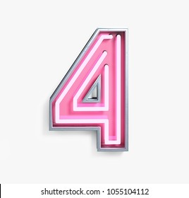 Bright Neon Font with Fluorescent Pink Tubes. Number 4. Night Show Alphabet. 3d Rendering Isolated on White background.