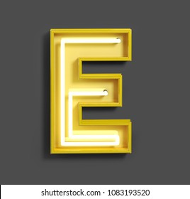 Bright Neon Font with fluorescent yellow tubes. Letter E. Night Show Alphabet. 3d Rendering Isolated on Gray Background.