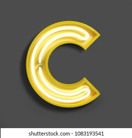 Bright Neon Font with fluorescent yellow tubes. Letter C. Night Show Alphabet. 3d Rendering Isolated on Gray Background.