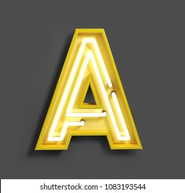 Bright Neon Font with fluorescent yellow tubes. Letter A. Night Show Alphabet. 3d Rendering Isolated on Gray Background.