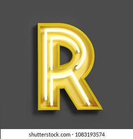 Bright Neon Font with fluorescent yellow tubes. Letter R. Night Show Alphabet. 3d Rendering Isolated on Gray Background.
