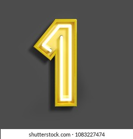 Bright Neon Font with Fluorescent Yellow Tubes. Number 1. Night Show Alphabet. 3d Rendering Isolated on Gray background.