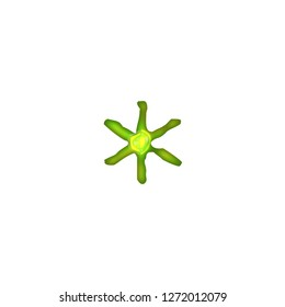 Bright neon green glowing glass tube style asterisk or star shape symbol in a 3D illustration with a shiny illuminated light green color glow in a jagged font on white with clipping path