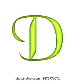 Bright neon green glowing glass tube style letter D in a 3D illustration with a shiny illuminated light green color glow in an old style font on white with clipping path