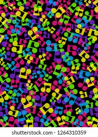 Bright neon music notes scattered on a black background.