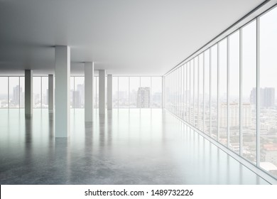 Bright office interior with panoramic window, new york city view and daylight. 3D Rendering