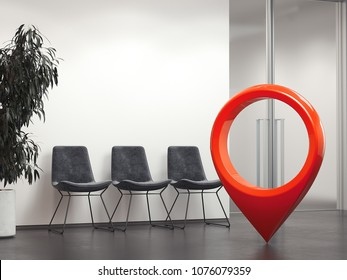 Bright office reception with waiting area and dark chairs and red geotag or map pin. 3d rendering