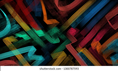 Bright oil paint lines on black background. 5K abstract monitor wallpaper. Digital art design. Creative concept 16:9 wallpaper. Corporate identity cover. Abstract background. High resolution image