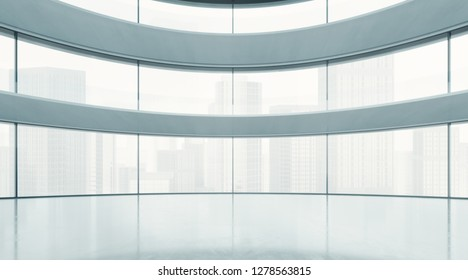 Bright open space interior with wide panoramic windows. 3D rendering