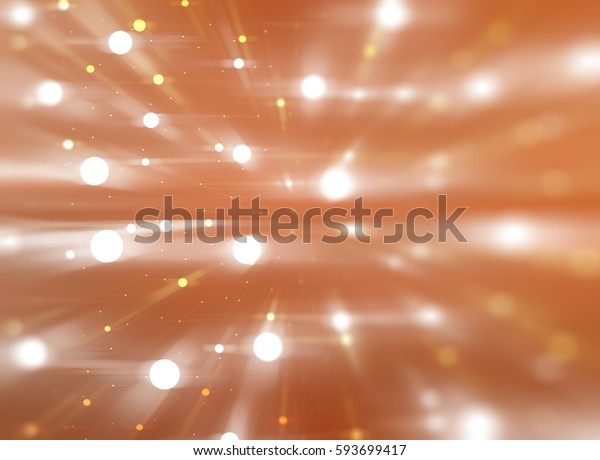 Bright orange illustration with abstract shiny background with stars.