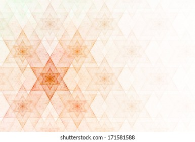 Bright orange / red abstract star of David repeating pattern on white background
