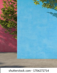 Bright painted blue and pink wall with green tropical leaves, sunlight with shadows. Summer, spring background. 3d rendering.