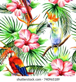 Bright parrots in the style of watercolor. Patern
