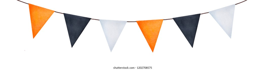 Bright party garland with different painted flags. Can be used for some text letters writing. Hand drawn watercolour graphic illustration on white background, cutout element for design and decoration.