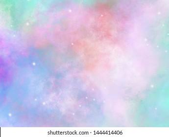 Bright pastel sparkling background. Glitter star dust. Defocused colorful design.