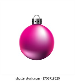Bright pink christmas ball on white background