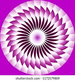 Bright pink, lavender, white geometric spiral pattern on lavender background. Decorative element, ethnic design, web design, anti-stress therapy, meditation.