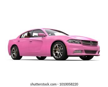 Bright pink modern fast city car - 3D Illustration