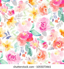 Bright Pink and Yellow Girly Watercolor Flowers Wallpaper Background Pattern with Roses. Repeats Seamlessly