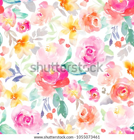 Royalty free stock illustration of bright pink yellow girly bright pink and yellow girly watercolor flowers wallpaper background pattern with roses repeats seamlessly mightylinksfo