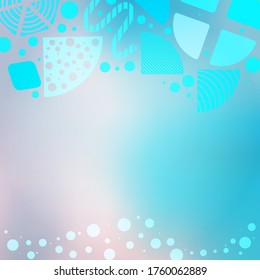 Bright Poster with Geometric Abstract Shapes, Patterns on the Blue Uneven Mesh Background. Blank Space for Text. Perfect for Ad, Invitation, Presentation Header, Page, Cover.