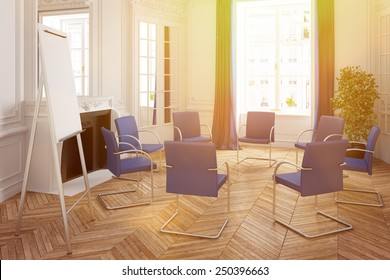 Bright presentation room with stairs in circle in an old classic house (3D Rendering)