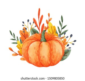 Bright pumpkin with autumn leaves and branches. Hand-drawn watercolor illustration. Great for greeting cards, invitations and other designs.