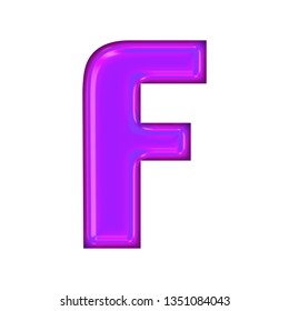 258a3c2fd4 Bright purple glowing glass letter F in a 3D illustration with a shiny  purple neon tube