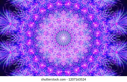 Bright purple/violet kaleidoscopic mandala with repetitive shapes and patterns.