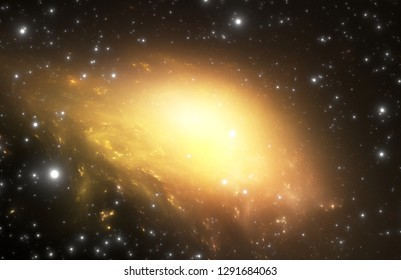 Bright quasar in deep space. Scientific space background. 3d illustration