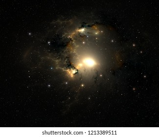 Bright quasar, Supermassive object with extremely strong gravity, 3d illustration