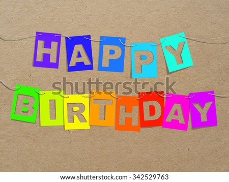 Bright Rainbow Happy Birthday Card On Stock Illustration 342529763