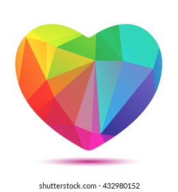 Bright rainbow heart isolated on a white background.